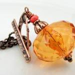 Sparkly Orange Acrylic and Copper N..