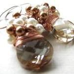 Cluster Wedding Earrings, Swarovski..