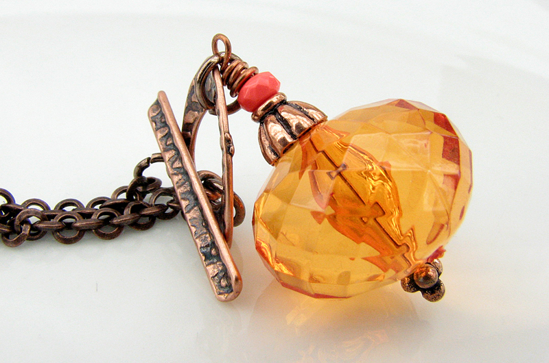 Sparkly Orange Acrylic and Copper Necklace