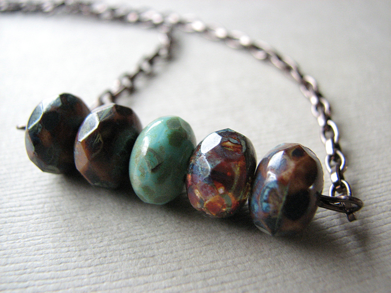 Rustic Czech Glass Earth Tone Beaded Necklace