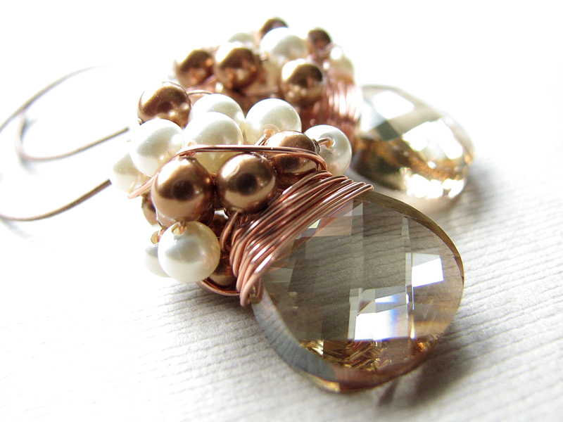 Cluster Wedding Earrings, Swarovski Golden Shadow Briolettes and Glass Pearls with Copper