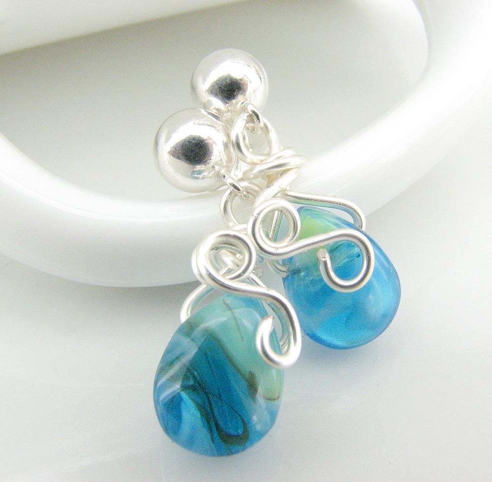 Aqua Glass Teardrop Wire Wrapped Sterling Silver Ball Post Earrings ...