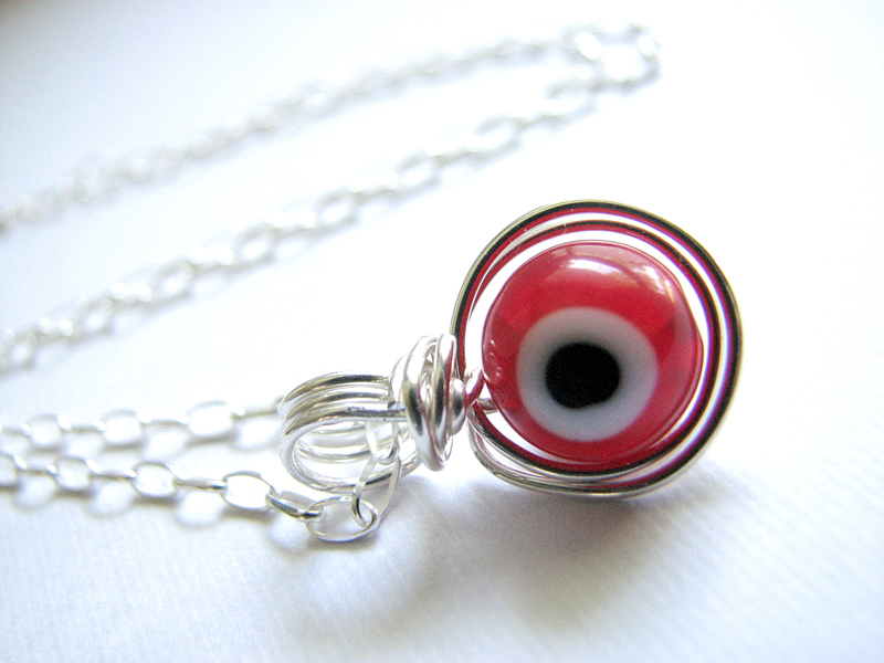 Evil Eye Wire Wrapped Sterling Silver Necklace