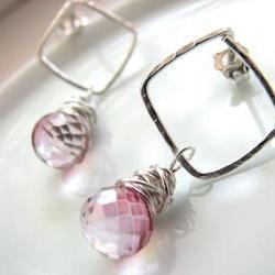 Pink Mystic Quartz Dangle Post Earrings